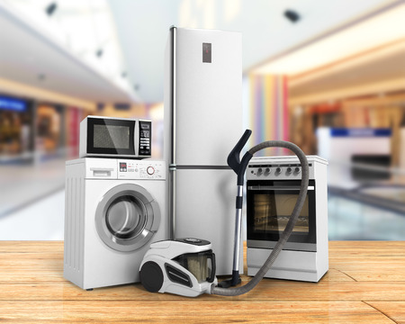 Home appliances Group of white refrigerator washing machine stove microwave oven vacuum cleaner on wood flor background 3d Stockfoto