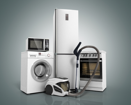 가전 제품 화이트 냉장고 세탁기의 그룹 회색 그라디언트 배경에 전자 레인지 진공 청소기를 스토브 3d