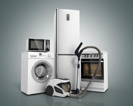 Sprzęt gospodarstwa domowego Grupa białej lodówki Piec pralniczy kuchenka mikrofalowa Odkurzacz na szarym tle gradientr 3d