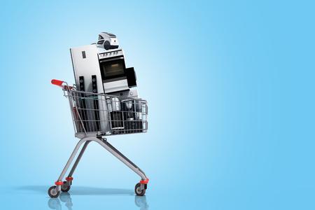 장바구니에있는 가전 전자 상거래 또는 온라인 쇼핑 개념 3 차원 렌더링에 그라데이션