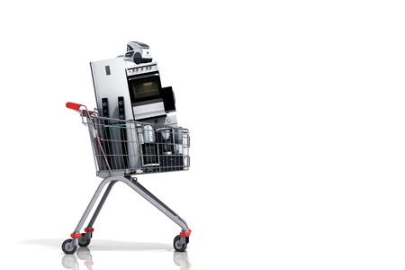 장바구니에있는 가전 제품 전자 상거래 또는 온라인 쇼핑 개념 3 차원 렌더링 스톡 콘텐츠