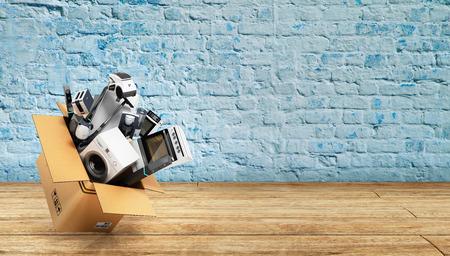 break in: Appliances in the box 3d render on wood flor with break