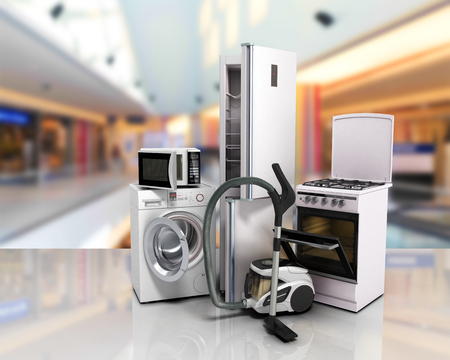 technics: Home appliances Group of white refrigerator washing machine stove microwave oven vacuum cleaner on glass flor 3d