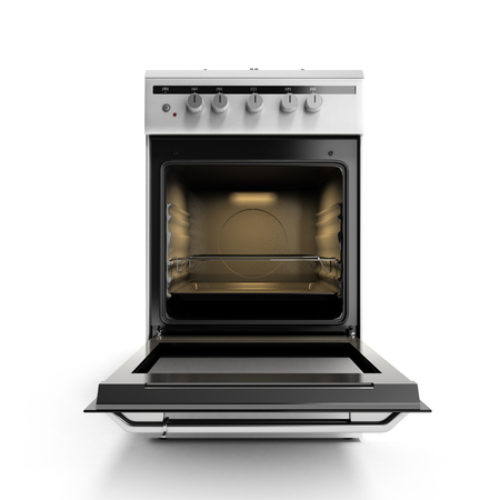 gas stove: open gas stove 3d render isolated on a white background Stock Photo