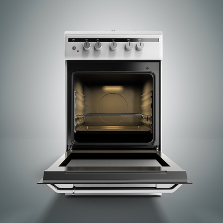 gas stove: open gas stove 3d render isolated on a grey background