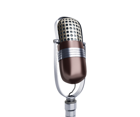 Vintage silver microphone close up isolated on white background 3d render Stock Photo