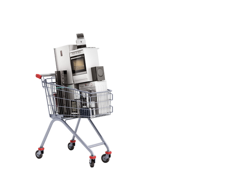 Home appliances in the shopping cart E-commerce or online shopping concept 3d render no shadow