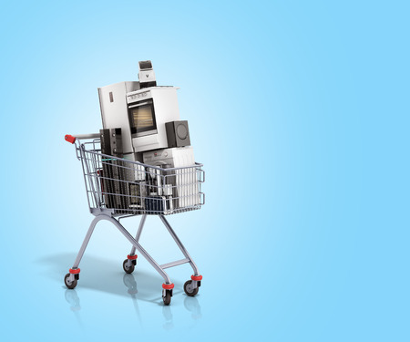 Home appliances in the shopping cart E-commerce or online shopping concept 3d render on blue
