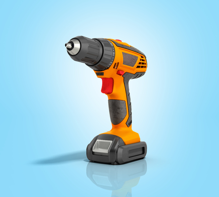keyless: combi drill impact drill and screw driver on blue gradient background 3d render