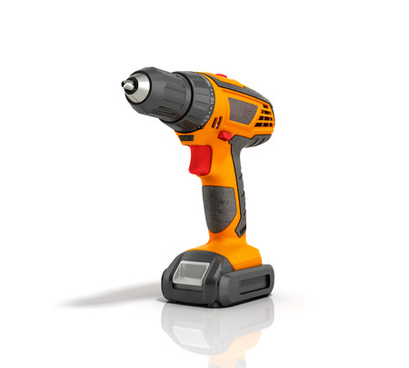 keyless: combi drill impact drill and screw driver on white background 3d render