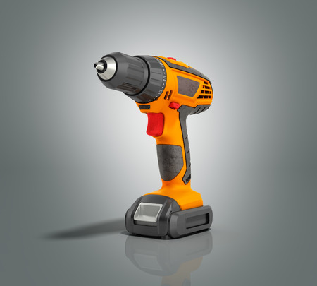 keyless: combi drill impact drill and screw driver on grey gradient background 3d render
