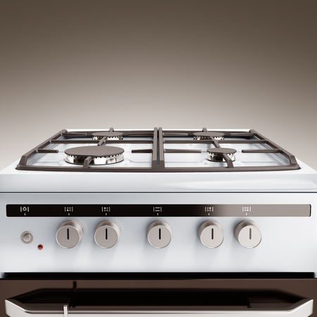gas stove: Gas stove 3d render on grey background Stock Photo