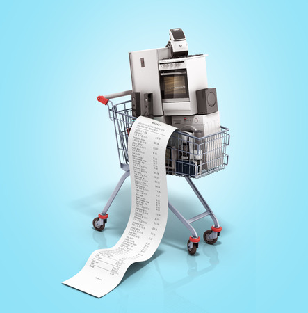 Home appliances in the shopping cart E-commerce or online shopping concept 3d render on blue Stock Photo - 72874278