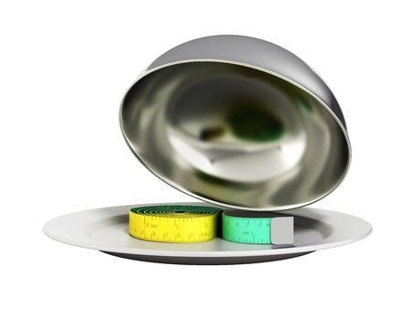 flatwares: Concepts for a healthy food measure tape in Restaurant cloche with open lid 3d render no shadow