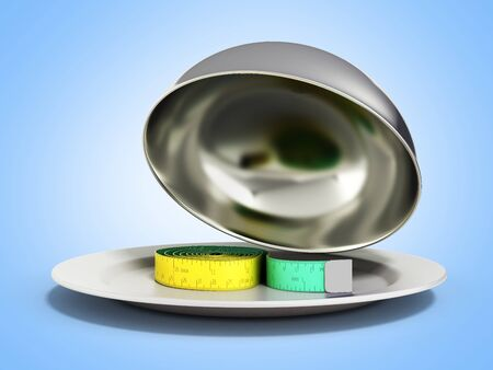 Concepts for a healthy food measure tape in Restaurant cloche with open lid 3d render on blue gradient
