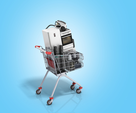 kitchen appliances: Home appliances in the shopping cart E-commerce or online shopping concept 3d render on blue
