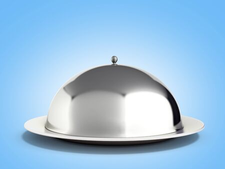 Restaurant cloche with close lid 3d render on blue Stock Photo