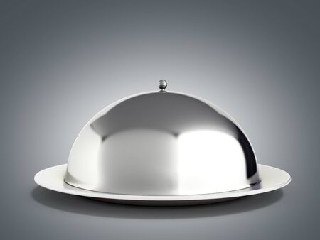 Restaurant cloche with close lid 3d render on grey