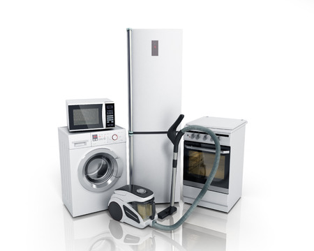 gas laundry: Home appliances Group of white refrigerator washing machine stove microwave oven vacuum cleaner isolated on white background 3d Stock Photo