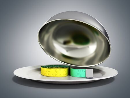 Concepts for a healthy food measure tape in Restaurant cloche with open lid 3d render on grey gradient