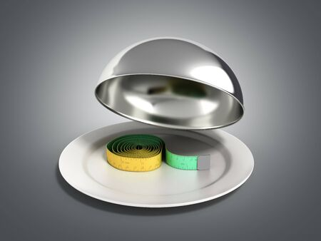 Concepts for a healthy food measure tape in Restaurant cloche with open lid 3d render on grey