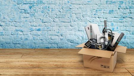 가전 제품 화이트 냉장고 세탁기의 그룹 스토브 전자 레인지 진공 청소기 나무 바닥에 3d 렌더링 스톡 콘텐츠