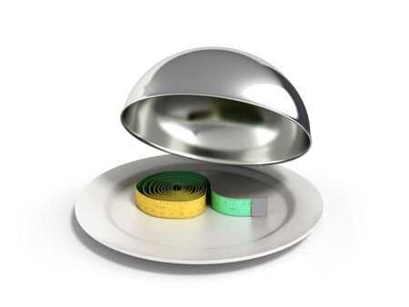 Concepts for a healthy food measure tape in Restaurant cloche with open lid 3d render Stock Photo