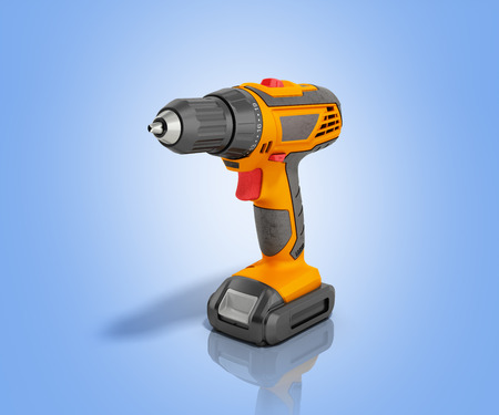 keyless: combi drill impact drill and screw driver 3d render on blue background