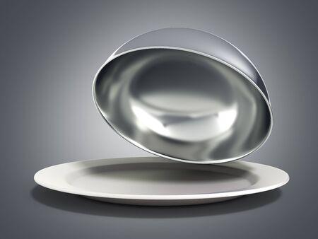Restaurant cloche with open lid 3d render on grey