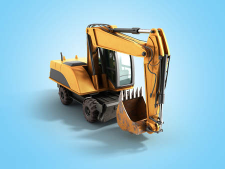 earthmover: Old yellow excavator 3d ewrnder on blue background