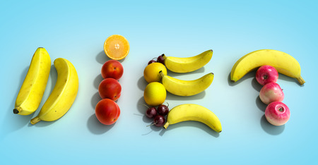 white plate with laid out on her word diet composed of slices of different fruits 3d render on blue
