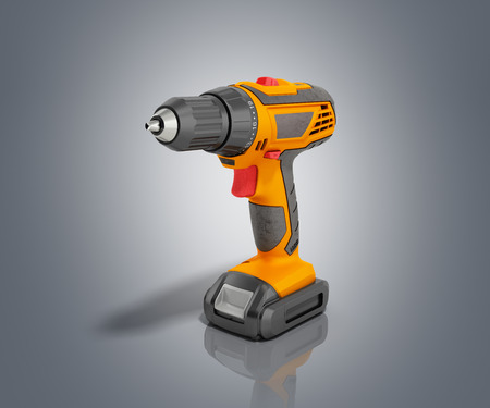 keyless: combi drill impact drill and screw driver 3d render on fgrey background Stock Photo