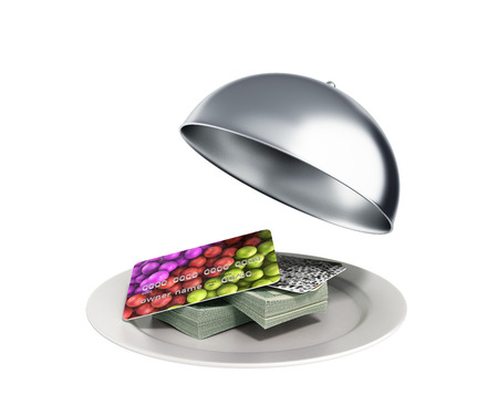 Concepts of fast money credit money hundred dollar bills in Restaurant cloche with open lid 3d render no shadow
