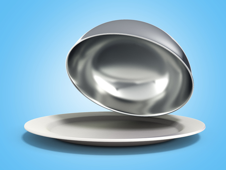 Restaurant cloche with open lid 3d render on blue Stock Photo