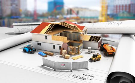 건설 개념 프로세스를 구축하는 집 3 차원 이미지 3 차원 렌더링 건물 배경