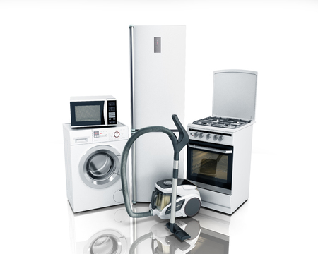 gas stove: Home appliances Group of white refrigerator washing machine stove microwave oven vacuum cleaner isolated on white background 3d Stock Photo