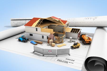 concetto di costruzione Casa nel processo di costruzione Immagine tridimensionale rendering 3D sul blu