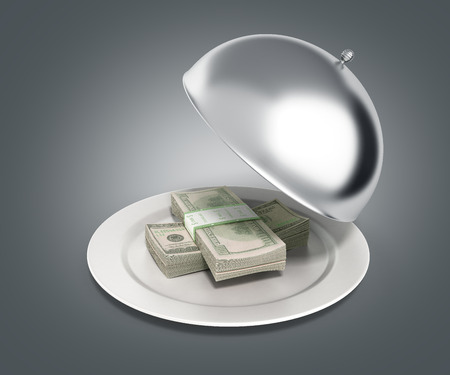 Concepts of fast money credit money hundred dollar bills in Restaurant cloche with open lid 3d render on grey