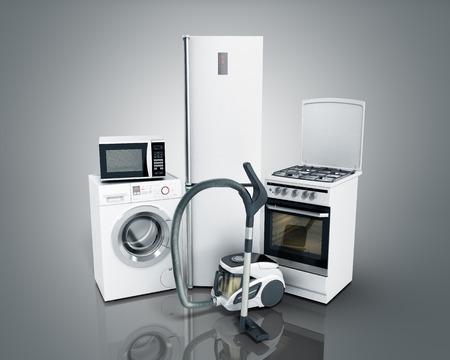 가전 제품 그룹 흰색 냉장고 세탁기 스토브 전자 레인지 진공 청소기 회색 배경에 3d