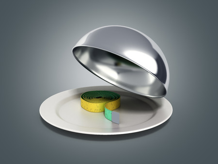 flatwares: Concepts for a healthy food measure tape in Restaurant cloche with open lid 3d render on grey