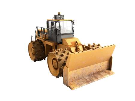 earthmover: Yellow Bulldozer 3d render Isolated on white no shadow