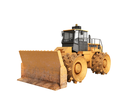 Yellow Bulldozer 3d render Isolated no shadow
