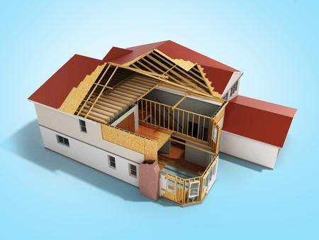 domains: build House Three-dimensional image 3d render on blue background
