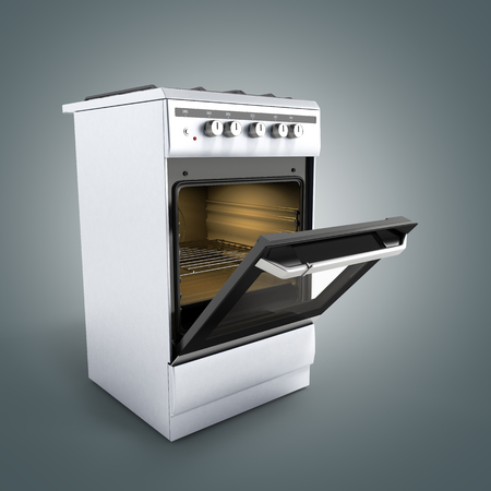 gas stove: open gas stove 3d render on grey background Stock Photo