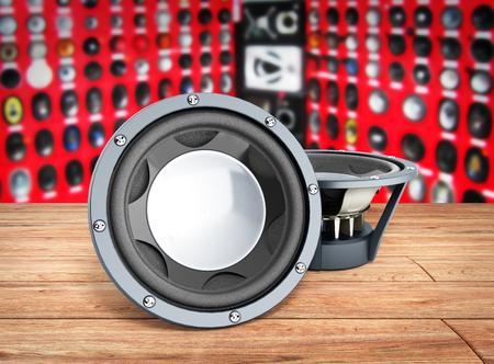 acoustics: black loudspeakers 3d render on wood flor car sound