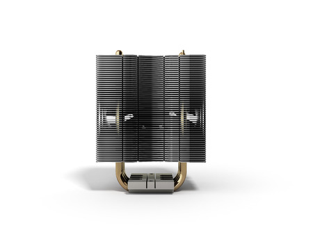 aluminum: Active CPU cooler with the aluminum finned heat-sink and the fan 3d render