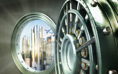 Concept of safe city Big safe door with city ingots High resolution 3D image Stock Photo