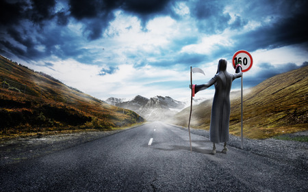 spit: Concept of dangerous excess speed Death drawing a figure on a speed limit sign 3d render background