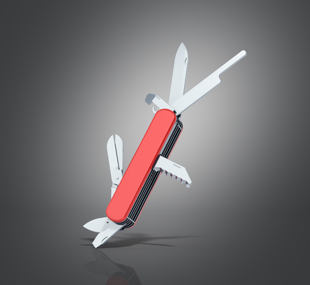 resourceful: red penknife 3d render on grey background Stock Photo