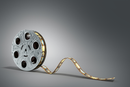film reel with a film strip 3d render on the grey background